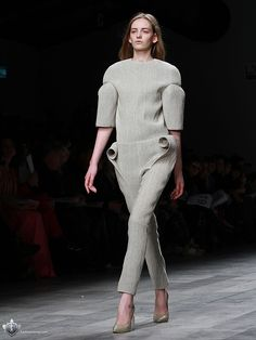 Sculptural Fashion with smooth rounded structure & 3D curled fabric accents like rolled parchment; experimental fashion design // Viktor Smedinge