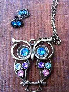 Vintage #Owl Necklace and Earrings Set by Krazy4Kamo on Etsy, $5.00