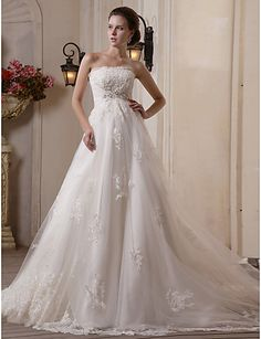A-line Scalloped-Edge Chapel Train Tulle Satin Wedding Dress - USD $ 699.99