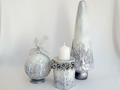Silver Christmas, Candle Holders, Swarovski, Candles, Porta Velas, Candy, Candle Sticks, Candlesticks, Candle