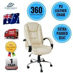 Executive PU Leather Office Computer Desk Chair Beige Tilt 360 Degree Swivel New