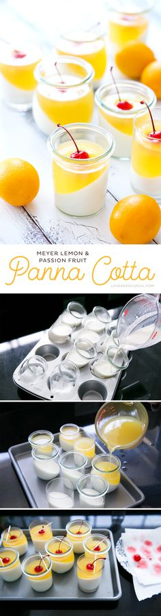 Sparkling Meyer Lemon & Passion Fruit Panna Cotta - this dramatically layered grown-up gelatin dessert recipe is easier than you might think and will WOW your guests!