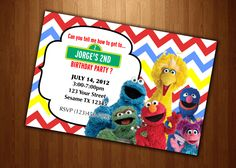 sesame street Invitation Birthday party Personalized Digital File U Print  yellow blue red modern elmo cookie moster big bird chevron. $12.99, via Etsy.