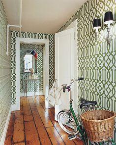 Kelly Wearstler's Imperial Trellis Wallpaper in Chloë Sevigny's hallway