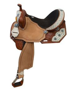 "14"", 15"", 16"" Double T barrel saddle with white hair on overlays and turquoise stone cross conchos. This saddle features chestnut color tooled skirts, pommel and cantle that are accented with white ha"