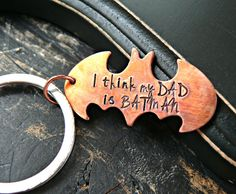Hand Stamped Fathers Batman Keychain Fathers by yourcharmedlife