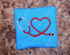 """In The Hoop Home Town Hero Medical Coaster Embroidery Machine Design for 4""""x 4"""" Hoop"""