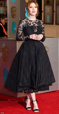 Yet more ghostly glamour: Irish television presenter Angela Scanlon, mixed lace and chiffon for this Fifties-style dress Celebrity Red Carpet, Celebrity Style, Angela Scanlon, Bafta 2016, Fifties Fashion, Fifties Style, Red Ghost, High Ponytail Hairstyles, High End Fashion