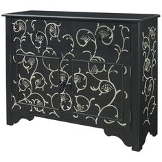 I pinned this Powell Vine Cabinet from the Design Icon: Marilyn Monroe event at Joss and Main! Classic style meets contemporary design in the chic Vine Cabinet from Powell. Perfect for your bedroom or hallway, this eye-catching design showcases a rich black finish, scrolling hand-painted vine detail, and ample interior storage for clothing, linens, and home accessories.