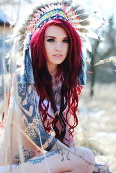 Love the red hair and the ink