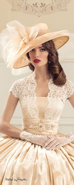 Adorable bridal outfit with hats!