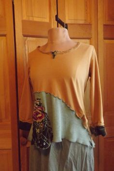 Celtic Gypsy Girl Upcycled Lagenlook Cotton Knit and Embroidered Velour Tunic Blouse Size S-M