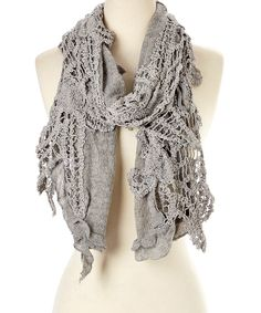 Gray Linen-Cashmere Blend Scarf