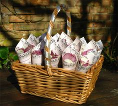Gorgeous autumnal confetti basket from The Real Flower Petal Confetti Company