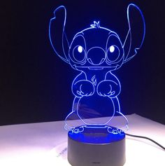 brand new and high quality This unique and charming LED visual night light will be an excellent and romantic gift for your friend and yourself Only use a acrylic piece to create an attractive stereoscopic visual pattern and lighting effects Lilo Ve Stitch, Stitch Disney, Lilo And Stitch Quotes, Citations Lilo Et Stitch, Stitch And Angel, Disney Rooms, Disney Nursery, Stitch Cartoon, Cute Stitch
