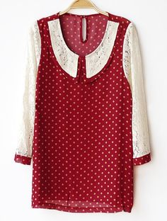 #SheInside Dark Red Long Sleeve Polka Dot Hollow Embroidery Shirt