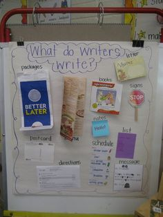 "Love this visual for kids about ""what do writers write."""