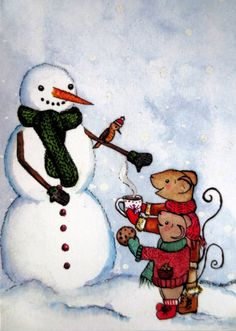 Christmas Card These two kind mice offer their new by EmmysAnimals
