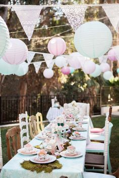 Dining Table from a Shabby Chic Alice In Wonderland Birthday Party via Kara's Party Ideas http://KarasPartyIdeas.com (49)