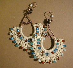 Crochet Earrings - CROCHET - inspiration only. No pattern Crochet Jewelry Patterns, Crochet Earrings Pattern, Crochet Accessories, Crochet Necklace, Crochet Jewellery, Beaded Jewelry, Handmade Jewelry, Thread Crochet, Crochet Gifts