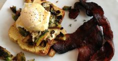 Pan-fried Brussels and toasted squash seeds on butternut toast with a poached egg & smoked paprika hollandaise; apple-thyme candied bacon - Chef Alexander Testere