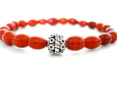 Red Glass and Silver Meditation Bracelet Red by peaceofminejewelry, $25.00