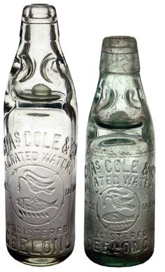 A couple of Chas Cole & Co Aerated Waters Geelong Codd bottle variations. Heron & Fish trade mark.