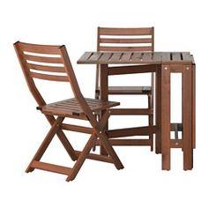 """ÄPPLARÖ Table and 2 folding chairs. length 30 3/8"""", min. length 8"""", max. length 52 3/8"""", width 24 3/8"""", height 28"""" ($149)"""