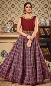 Maroon Color Shaded Silk Long Anarkali Suit #anarkalidressonlineshopping #anarkalikurtas Set a new trend in ethnic style in this maroon color shaded silk long Anarkali suit. The resham and lace work personifies the total look.  USD $ 105 (Around £ 72 & Euro 80)
