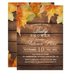 Autumn Baby Shower Invitation - rustic country gifts style ideas diy