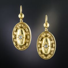 A single star-set old mine-cut diamond glints in the center of these consummate Victorian ear drops, circa lightly rendered in yellow gold (hence of British origin). Measuring 1 inch long (they drop a bit further from the ear wires). Antique Earrings, Antique Jewelry, Vintage Jewelry, Ear Drops, Diamond Drop Earrings, Decorative Objects, Vintage Designs, Pocket Watch, Diamond Cuts