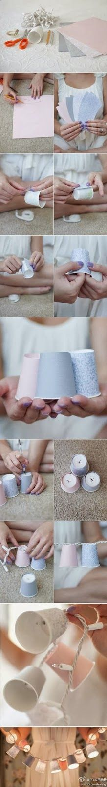 Make light shades with paper cups - Make light shades with paper cups Such paper cups can be really useful and practical. You just need some sheets of paper from different colors and pattern, a pair of scissors and a pen to sketch the outlines. Then cut them off and fold them in a proper way. Pierce the bottom and string the cups up to Christmas lights, for example. You'll be amazed by the result.