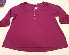 New St Johns Bay plus size 4x eyelets top henley cotton casual NWT soft stretchy