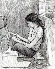 """I asked this woman if she'd mind if I drew her, since she was sitting backwards. She said, """"Sure."""" —Karl Gude"""