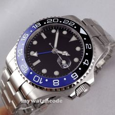 43mm parnis black dial GMT Ceramic Bezel sapphire glass automatic mens watch 298 | eBay