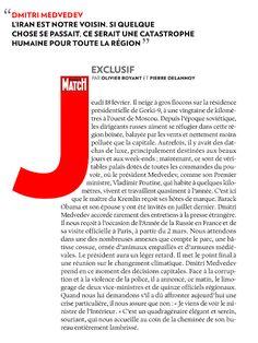 ParisMatch feature story on Dimitri Medvedev