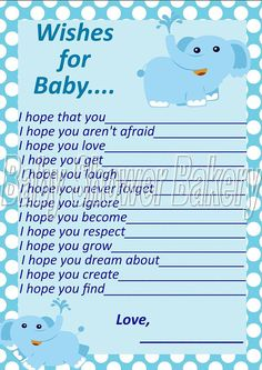 Have your guests write their wishes for baby in this elephant themed baby shower activitity
