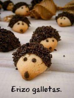 Hedgehog cookies -- so cute! Pie Recipes, Dessert Recipes, Cooking Recipes, Desserts, Hedgehog Cookies, Biscuits, Childrens Meals, Happy Foods, Food Humor
