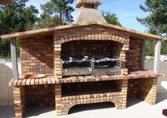 Garden Grill Barbecue Garden, Barbecue Grill, Outdoor Oven, Outdoor Cooking, Garden Fountains Outdoor, Bbq House, Brick Grill, Bbq Places, Oven Diy