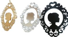 Beautiful laser cut acrylic modern cameo necklace with chain black,gold, silver