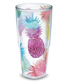 This Watercolor Pineapples 24-Oz. Tumbler is perfect! #zulilyfinds