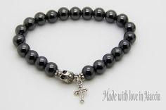 bracelet homme perles skull et croix par madewithloveinaiaciu