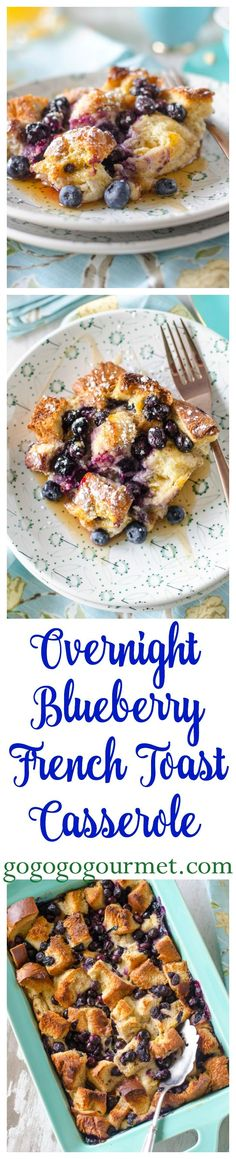 This french toast casserole is studded with plump, juicy blueberries- perfect for weekend breakfasts! Overnight Blueberry French Toast Casserole | Go Go Go Gourmet @gogogogourmet