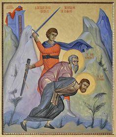 Romanian saints___Holy Martyrs Astion and Epictet Byzantine Icons, Byzantine Art, Religious Icons, Religious Art, Art Icon, Orthodox Icons, Painting & Drawing, Saints, Religion
