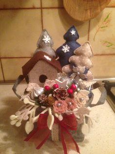 Cestino natalizio in feltro e pannolenci