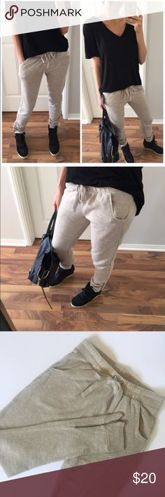 Oatmeal Joggers Worn once • Hand washed line dried • Measurements to follow • Purchased/Photo Credit @mrsalliexo Pants Track Pants & Joggers