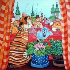 Добродушные кошки художницы Zuzana Honsova :: Коты и кошки - рисунок, графика, живопись