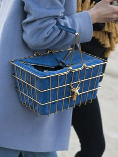 Chic shopping cart with deer and blue suede @ Paris Fashion Week