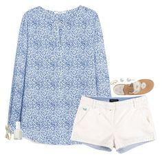 """""""outfit for the hot days"""" by sassy-and-southern ❤ liked on Polyvore featuring MANGO, Jack Rogers, Irene Neuwirth, Carolee, Essie and Kate Spade"""