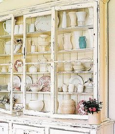 shabby chic display - would so love a cupboard like this!